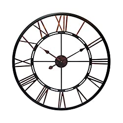 Infinity Instruments Fusion 28-Inch Oversized Decorative Roman Numerals Quartz Movement Large Metal Wall Clock for Living, Kitchen, Dining Room, Bedroom, 30 Inch, Black, Bronze, Copper