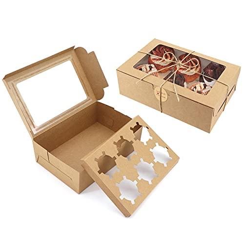 Paquete de 10 cajas de papel kraft para magdalenas con ventana e insertos, cajas de panadería marrón para galletas con cordel de yute y pegatinas para cupcakes, galletas, postres, pasteles