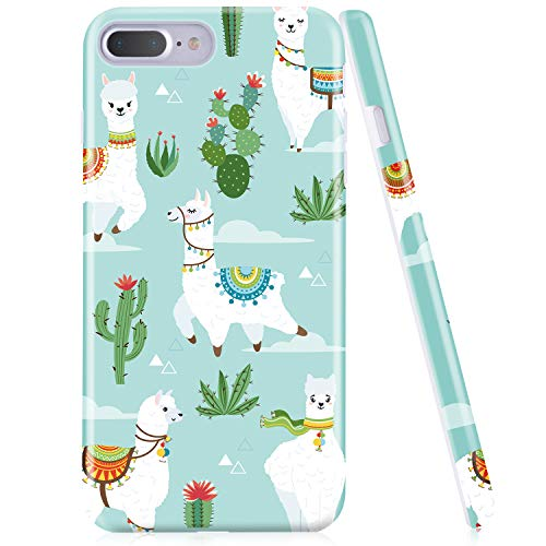 iPhone 7 Plus Case, iPhone 8 Plus Case, Emogins Phone Case for Apple, Premium Thin Light Slim Anti-Scratch Shockproof Green Soft Silicone Protective Cover with Cute Sheep Cactus Design for Women Girls