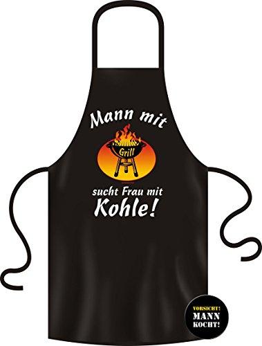 Set Grillschürze / Kochschürze MANN MIT GRILL SUCHT FRAU MIT KOHLE + Button VORSICHT MANN KOCHT