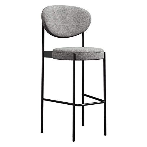 N/Z Daily Equipment Chair mit Rückenlehne Hohe Schwarze Metallbeine und gepolsterter Sitz aus weichem Stoff Hochleistungsküche Esszimmer Niture Barhocker 65Cm 65Cm