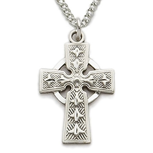 TrueFaithJewelry Sterling Silver Engraved Celtic High Cross Pendant, 7/8 Inch