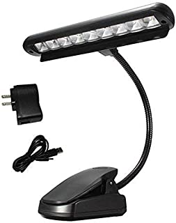 Vshinic Clip on Music Light Stand 9 LED Orchestra Lamp Piano Light,Fully Adjustable No Flicker For Book Reading, Mixing Table, DJ, Craft Work, Travel and More (Powered by AA Batteries, AC Adapter)