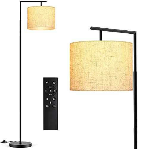 Floor Lamp for Living Room, LED Floor Lamp with Remote Control, 4 Color Temperature LED Bulb Included, Modern Standing lamp with Linen Lampshade for Bedroom,Matte Black
