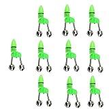 MagiDeal 10 Stück Angeln LED Aalglocken-Set Aal-Glöckchen doppelt Bissanzeiger zum Angeln - Grün