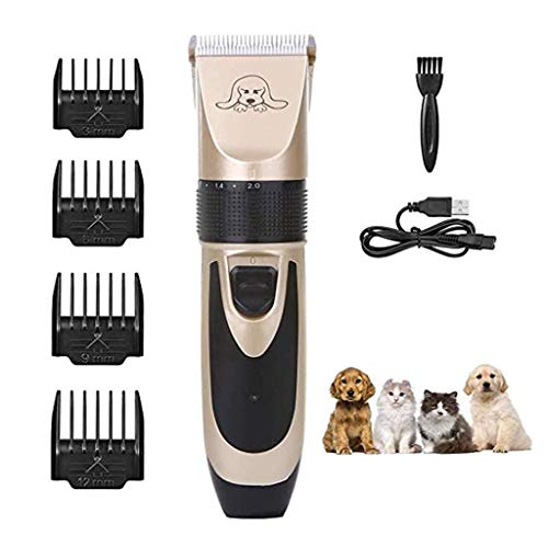 Low Noise Hondentondeuse Clippers voor Huisdieren Professioneel Cat Hair Trimmer kit tondeuse set met 4 Comb USB Rechargeable Cordless Scheren Tool