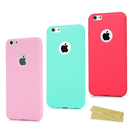 3x Funda iPhone 6 Plus, Carcasa Silicona Gel iPhone 6s Plus - Mavis's Diary Mate Case Ultra Delgado TPU Goma Flexible Cover Protectora para iPhone 6 Plus/iPhone 6s Plus 5.5 Pulgada Color Rosa+Verde