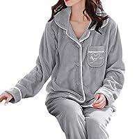 KANJJ-YU パジャマ 純綿 女性冬のフランネルパジャマセット長袖ルースボタントップ弾性ウエスト厚い暖かい寝室ホーム服 (Color : G, Size : M)
