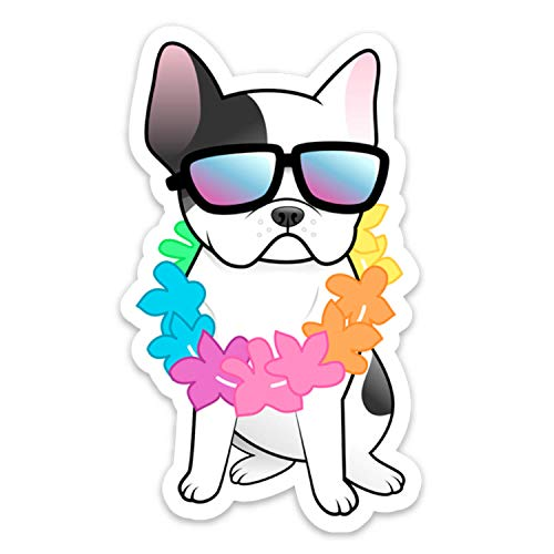 Stickeroonie Vinyl Sticker French Bulldog Vinyl Decals Frenchie Dog Lei Hawaiian Laptop Stickers, Skateboard Stickers, Hydroflask Stickers, Car Stickers, Phone Stickers 4 x 3'