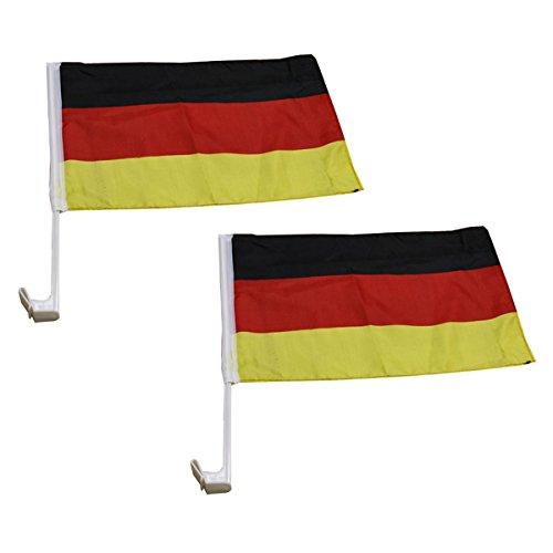 Sonia Originelli 2er Set Auto Flagge Fahne WM Länder Fußball Fan Farbe Deutschland