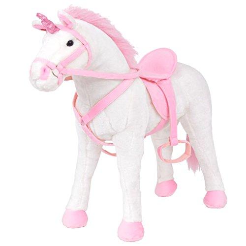 Galapara Stehpferd Plüschpferd XXL 71 x 62 cm Pferd mit Sound, Standpferd Spielzeug Pferd bis 100kg belastbar - Kinderpferd mit Kleiner Bürste Einhorn Weiß und Rosa