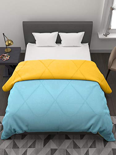Clasiko Reversible Single Bed Big Size Comforter/Duvet for Winters; Color - Yellow & Aqua Blue; Fabric - Micro Cotton; 250 GSM;...