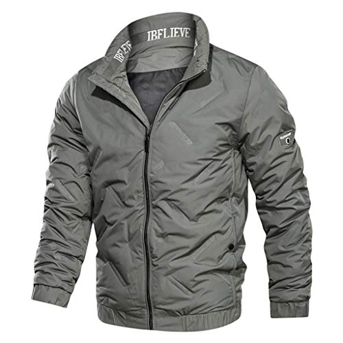 Sunnymi Men's Coat Fashion Men's Winter Pure Colour Stand-Up Collar Thick Down Jacket Coat - Grey - L