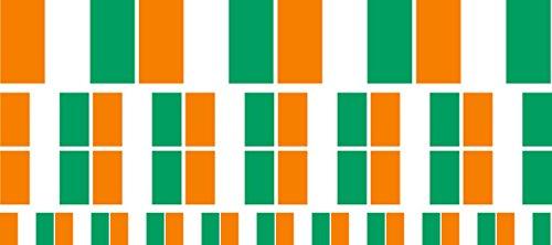 Mini Aufkleber Set - Pack glatt - 4x 51x31mm+ 12x 33x20mm + 10x 20x12mm- Sticker - Elfenbeinküste - Flagge - Banner - Standarte fürs Auto, Büro, zu Hause & die Schule - Set of 26