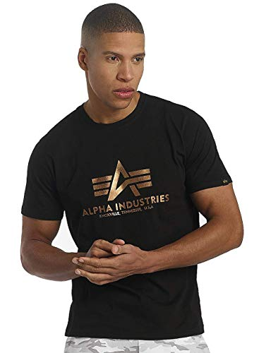 Alpha Industries Basic Small Logo T-Shirt,M,Black / Gold