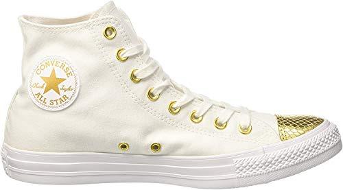 Converse Damen All Star Metallic Toecap Sneakers, Weiß (White/Gold/White), 39 EU
