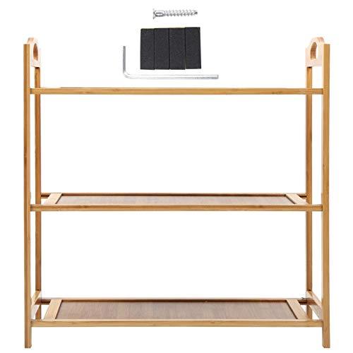 Cocosity Soporte de Almacenamiento de Zapatos de bambú de 20,1 x 18,5 x 9,4 Pulgadas, Estante Resistente para Zapatos de 3 Niveles, Dormitorio de Entrada para el Armario del hogar