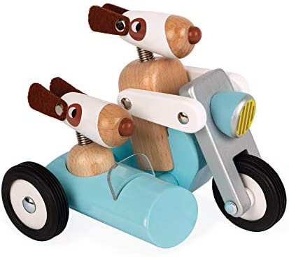 Janod Spirit Solid Cherry Wood Motorcycle Side Car Push Toy with Child Safe Water Based Lacquer product image