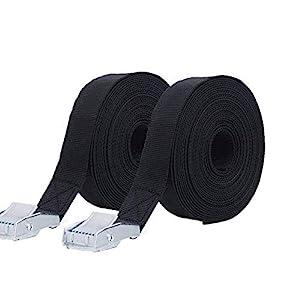 Heavy Duty Tensioning Belts, Shineus Lashing Strap Trailer Tie Down Straps 2.5 cm x 5 m Black (2Pack)