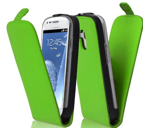 Cadorabo Custodia per Samsung Galaxy S3 Mini in Verde Mela - Protezione in Stile Flip di Similpelle Fine - Case Cover Wallet Book Etui
