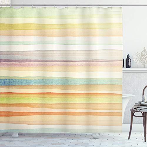 "Ambesonne Pastel Shower Curtain, Horizontal Watercolors Stripes Acrylic Elements Liquid Brushstrokes Print, Cloth Fabric Bathroom Decor Set with Hooks, 75"" Long, Light Pink"