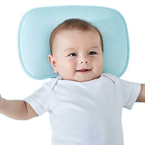 JUNBABY 3D Integral-Formkissen, Baby-Kopfstützkissen, Anti-Milben-Hypoallergen-Blau, Rosa Kopfstütze für die Reise, Kinderwagen-Blue