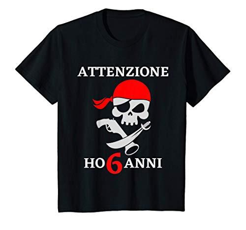 Bambino Buon Compleanno Capitano Pirata con Spada Ho 6 Anni Marinaio Maglietta