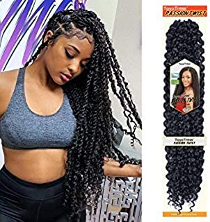Passion Twist Hair - 18 Inch 6packs Natural Black Water Wave Crochet Braids Synthetic Braiding Hair Extensions (18 Inch 6P...