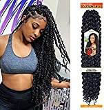 Passion Twist Hair - 18 Inch 6packs Natural Black Water Wave Crochet Braids Synthetic Braiding Hair Extensions (18 Inch 6Packs, 1B)…
