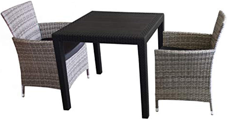 3tlg. Sitzgarnitur Balkonmbel Bistro Set Gartenmbel - Tisch Kunststoff Rattan-Look 79x79cm + 2 Polyrattan-Sessel Grau inkl. Sitzkissen