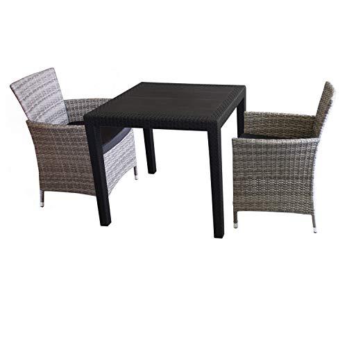3tlg. Sitzgarnitur Balkonmöbel Bistro Set Gartenmöbel - Tisch Kunststoff Rattan-Look 79x79cm + 2 Polyrattan-Sessel Grau inkl. Sitzkissen