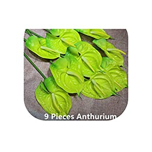 9Pcs/Lot Green Anthurium Latex Calla Real Touch Wedding Display Flower Calla Artificial Flower Home Decorative Flower Ale