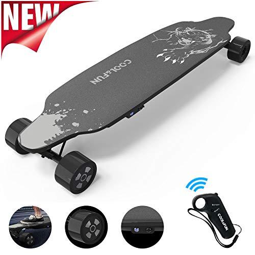 NEOMOTION Elektro Skateboard mit Fernbedienung 4 Rad Board mit langlebiger Batterie, Leistungsstarker 400W Motor, Schwarzes Longboard