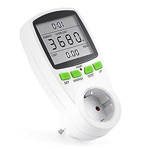 Arendo - Instrumento de medida de costes energéticos - contador de electricidad - indicador de tiempo energía costes - elementos de mando set up cost, energy - 3.680 W - protección para niños - blanco