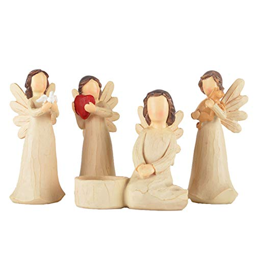 DZAY Willow Tree Guardian Angel Figurine Sets,Hope Angel Figurine Willow Tree Angel of Friendship Figurine Angel Statuee Figurine Hand Carved Figurines Gift Collectibles for Girl Figurine