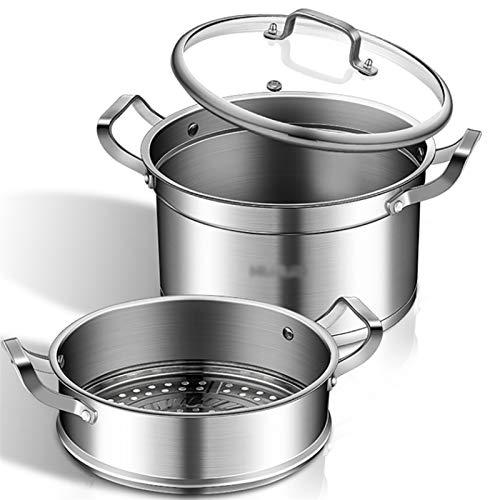 Olla de vapor de acero inoxidable 304 de 2 capas de gran capacidad para el hogar con vaporizador de 20 cm a 30 cm de espesor, apto para estufa de gas, cocina de inducción (tamaño: 26 cm)
