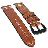 (キャリバ) CARIBA クレイジーホースレザー オイルドレザー 時計バンド 時計ベルト 22mm 耐水 丈夫 本革 牛革 (22mm, オイルブラウン)