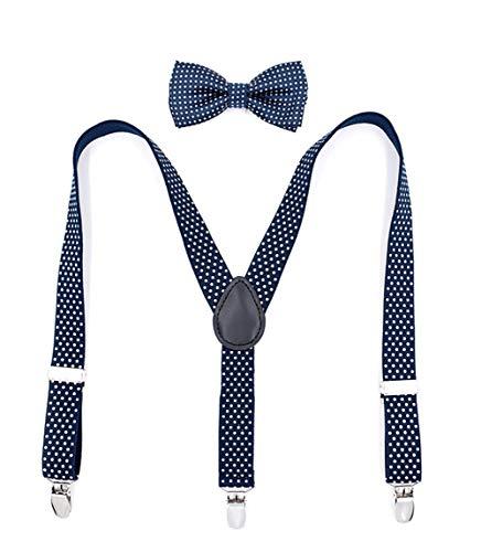 zhxinashu Niños Conjunto Tirantes y Pajarita - Chicos 3 Clips Suspenders Lunares Ajustables Fiesta Cumpleaños Accesorios a Juego