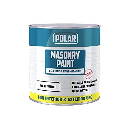 Polar Masonry Emulsion Paint for Multi-Purpose Use 500ml, Matt White for Interior and Exterior Walls...
