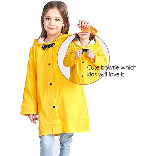 Mini Balabala Kids Rain Jacket Age 2-10 Dinosaur Shaped Cartoon Rain Cape Funny Children Rain Coat Lightweight Rainwear for Boy for Girl Yellow Size S