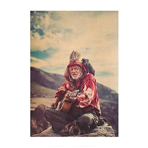 DrCor Old Hippie Red Man Tocando la Guitarra Rock y Hip Hop Vintage Poster Bar Cafe Pintura Decorativa Cuadros de Pared -50x70 cm Sin Marco 1Pcs