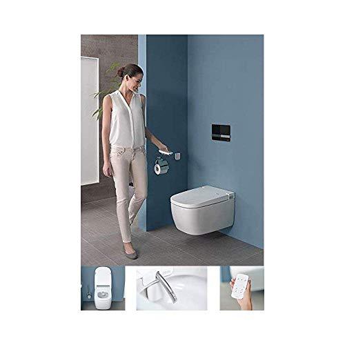 Vitra V-Care Comfort Spülrandloses Dusch-WC mit VitrAclean Beschichtung Taharet/Bidet Hänge-WC Duschtoilette mit Sitzheizung Intimdusche Fernbedienung EasyClean Softclose