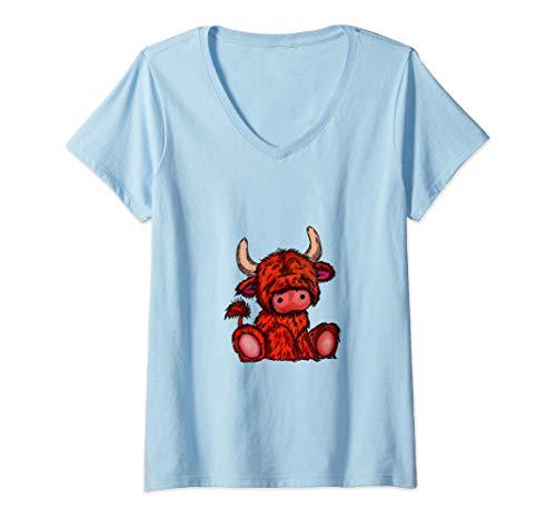 Damen Poison Design - Hochland Vieh schottischer Kuh-Cartoon T-Shirt mit V-Ausschnitt