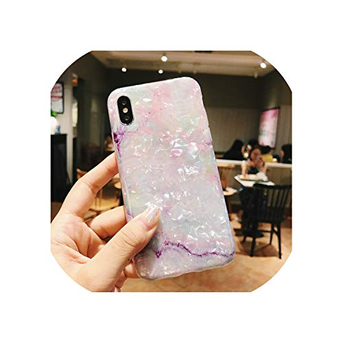 U-See Glossy Marble Case for iPhone 7 X Case Glitter Funny Patterned Conch Silicon Cover for iPhone 6 S 7 8 Plus Xr Xs Max Case,for iPhone 7 Plus,4