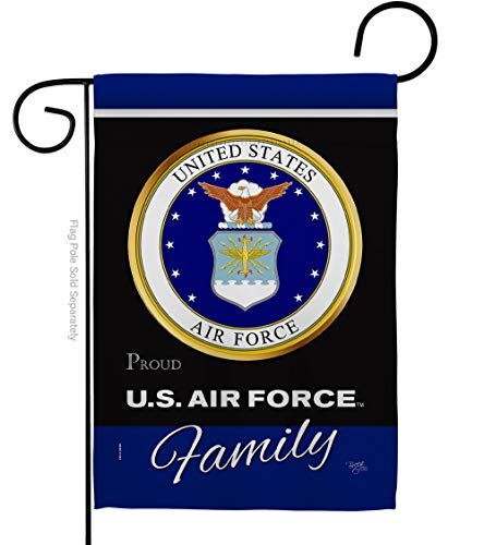 Breeze Decor Air Force Proudly Family Garden Flag Armed Forces USAF United State American Military Veteran Retire Official Small Decorative Gift Yard House Banner Double-Sided Made in USA 13 X 18.5