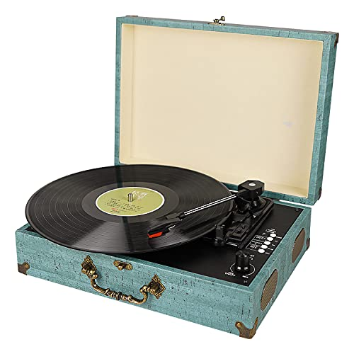 Vinyl Record Player Turntable with Built-in Bluetooth Receiver & 2 Stereo Speakers, 3 Speed 3 Size...