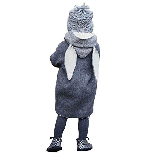 Longra Baby Kinder Jungen Mädchen Winterjacke Kinderjacken mit Kapuze Rabbit Ohren Mantel Jacke Unisex Baby Kinder starke warme Sweatjacke Fleecejacke Outdoorjacket (1-8Jahre), Grau, 130CM 6Jahre
