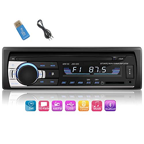 iWalker Autoradio mit Bluetooth Freisprecheinrichtung, Digital Media Receiver,Einzel-DIN-Receiver,4 x 60W Auto Radio 1 Din, FM/BT/USB/TF/SD MP3 Media Player,Schwarz.