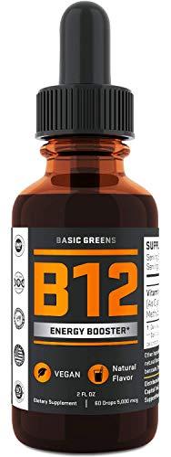 Vitamin B12 Liquid Sublingual Drops - Vegan B12 5000 mcg - for Boost Energy - Natural Cherry Flavor - Metabolism Drops - 2oz by BASIC GREENS