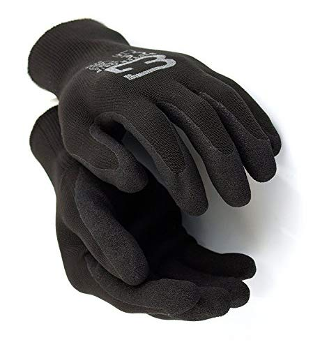 Better Grip Ultra-Thin BGSB1 Nylon Sandy Latex Coated Work Gloves, 4 Pairs/Pack (Large, Black)